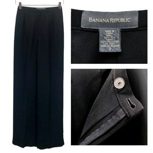 Banana Republic Flowy Black 100% Silk Pants
